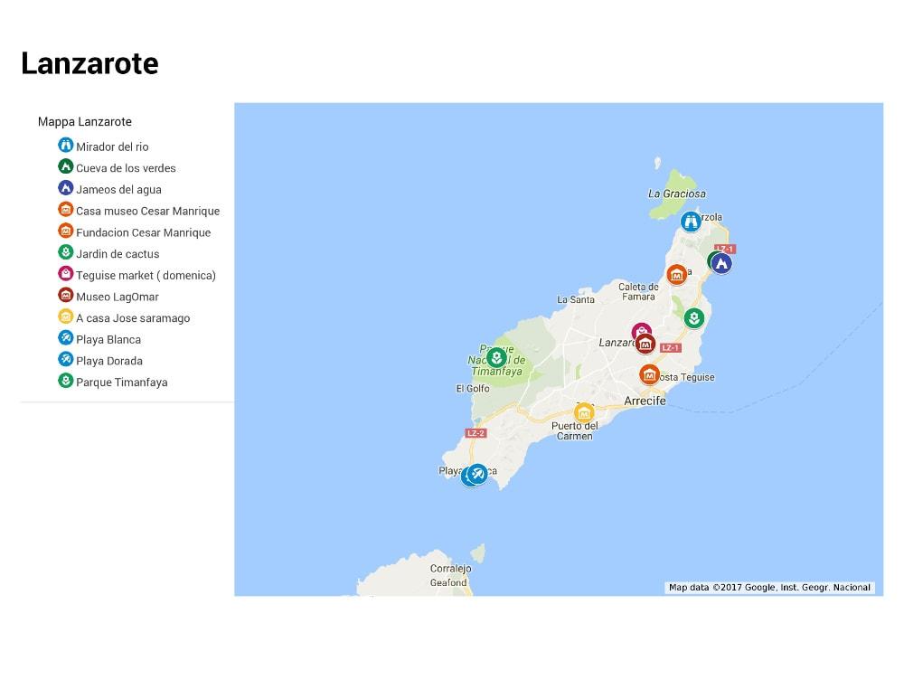 Cartina Lanzarote.Cosa Vedere A Lanzarote
