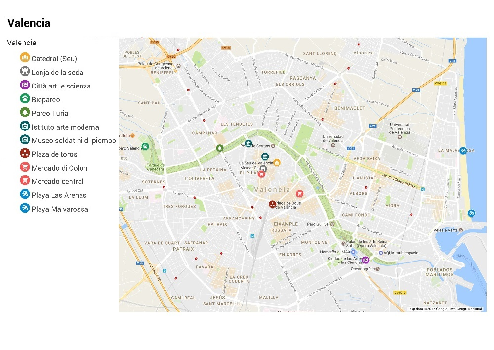 Spagna Valencia Cartina.Luoghi Di Interesse Valencia